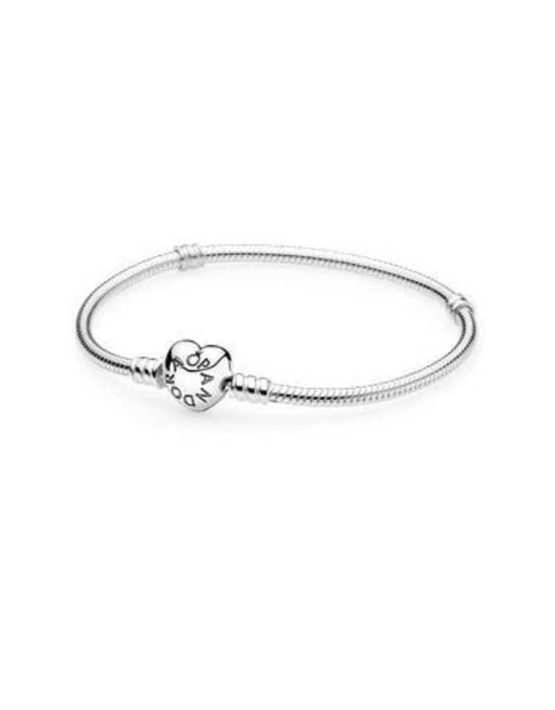 Pandora Jewelry Bracelet Sterling Silver With Heart Clasp