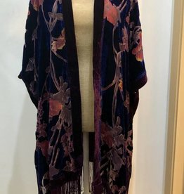 Good Bead Inc Velvet Burnout Kimono, Navy/Berry