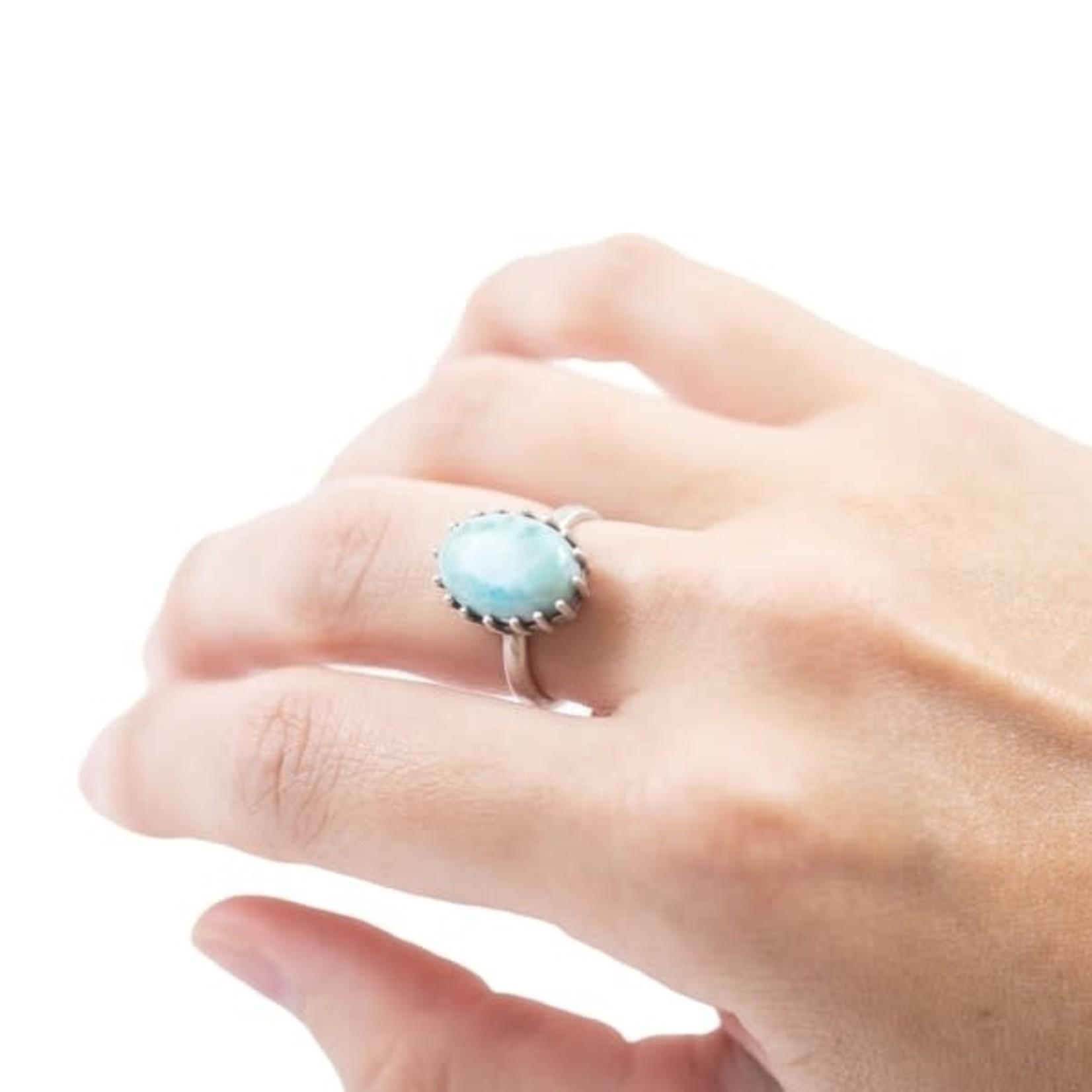 Large Larimar Stone Ring