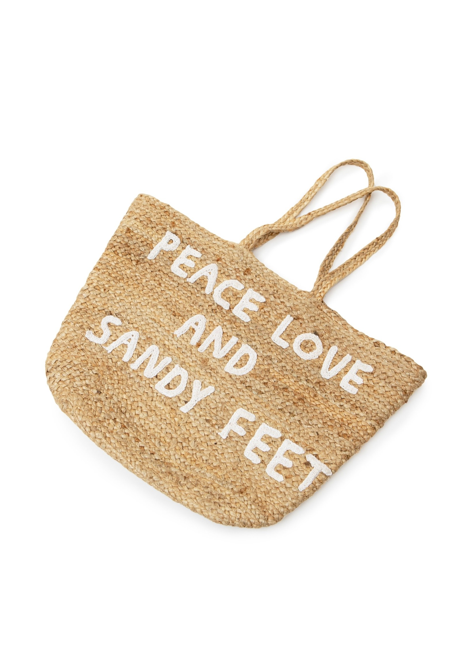 B100 Jute Tote Peace Love and Sandy Large