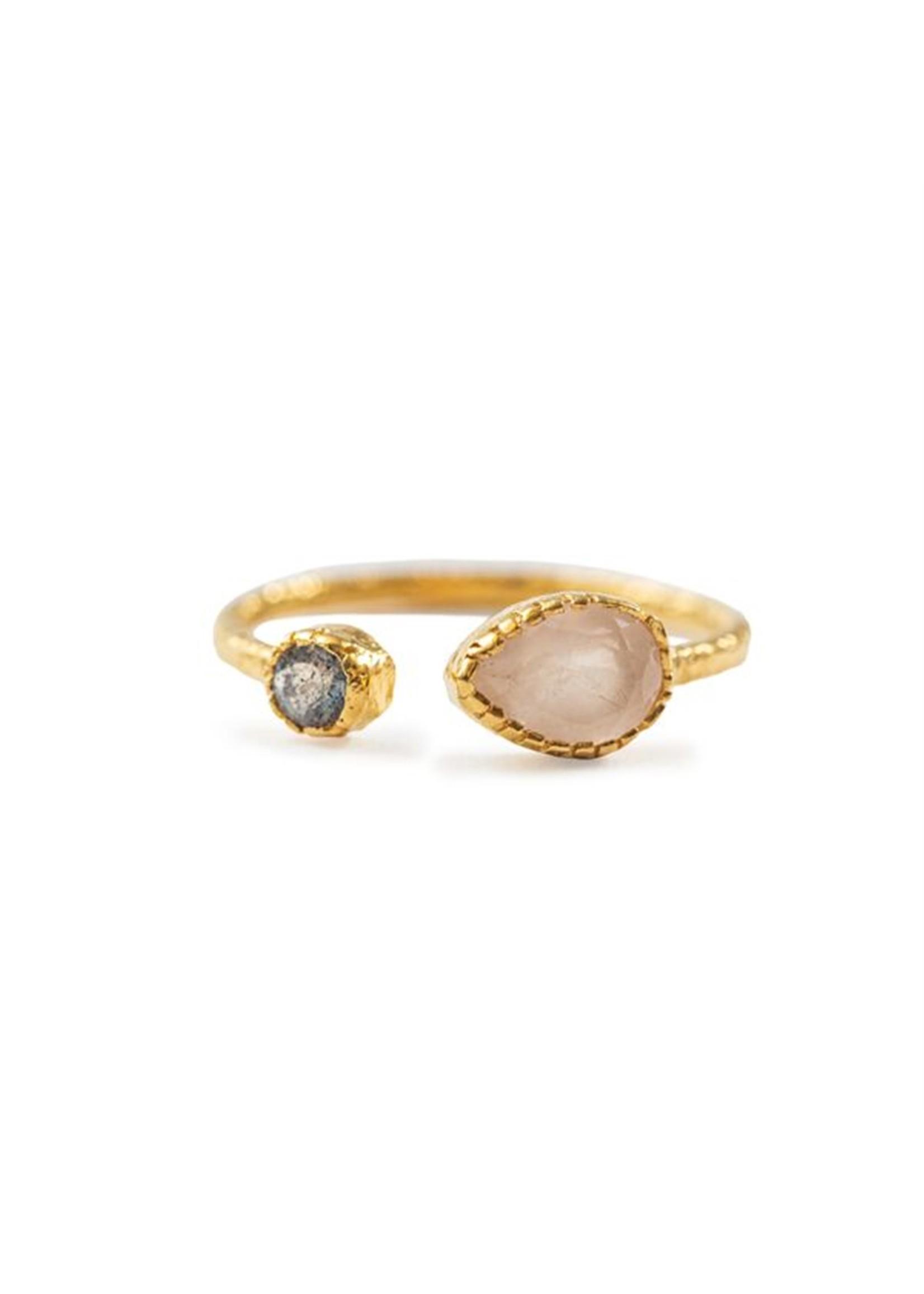 Rose Quartz & Labradorite Gold Plated Ring