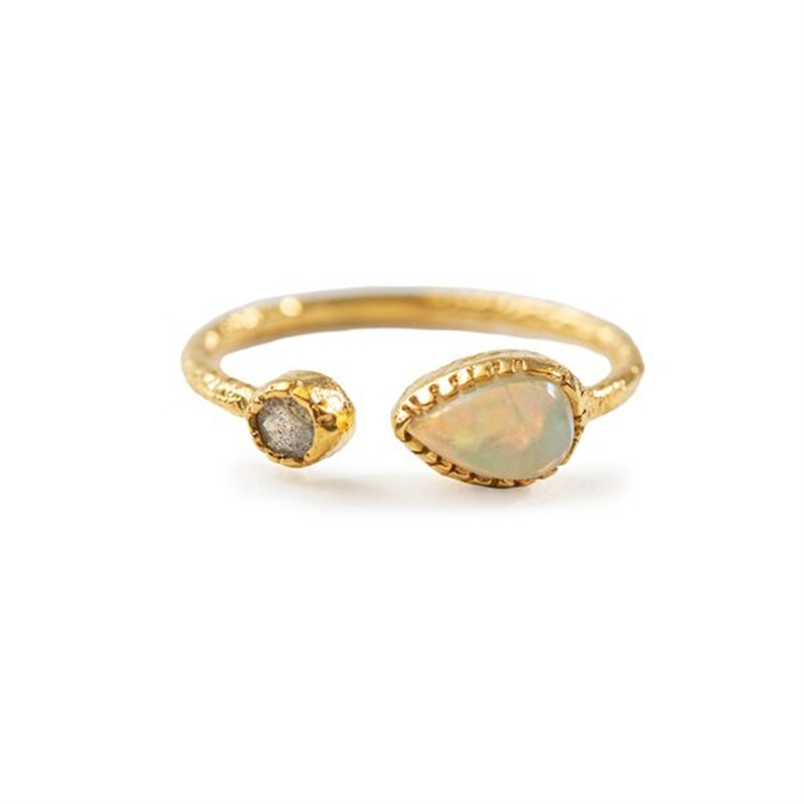 Opal & Labradorite Gold Plated Ring