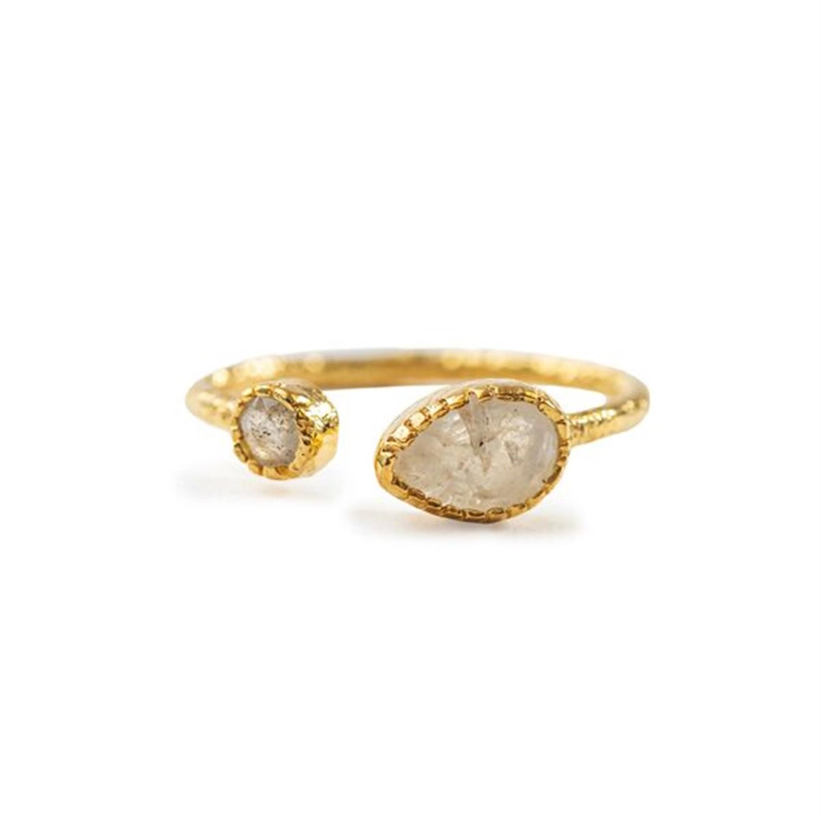 Moonstone & Labradorite Gold Plated Ring