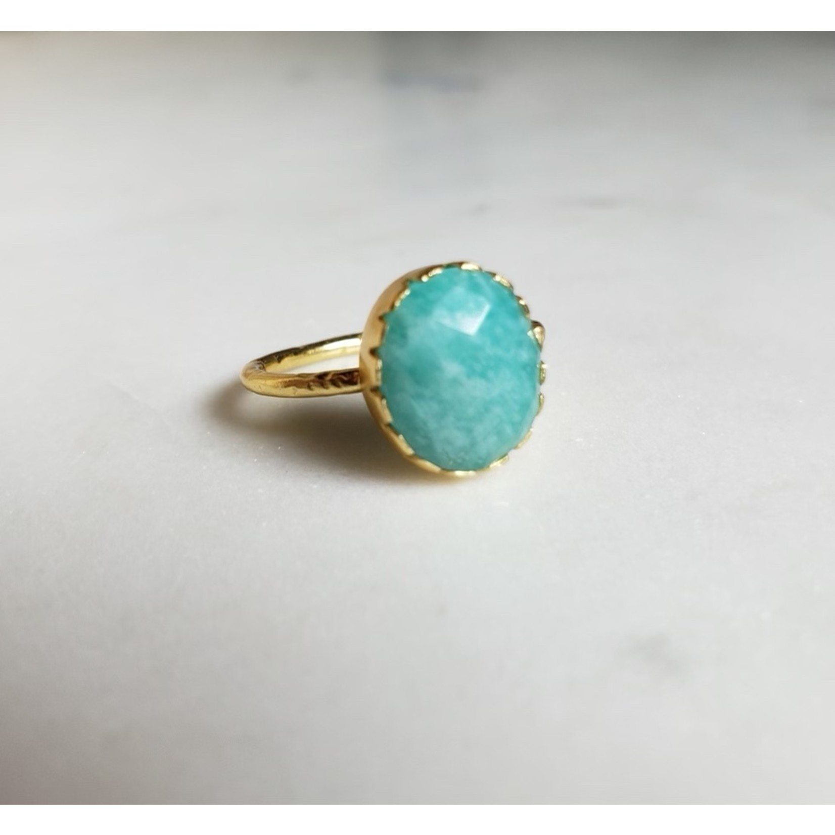 Amazonite Gold Plated Ring