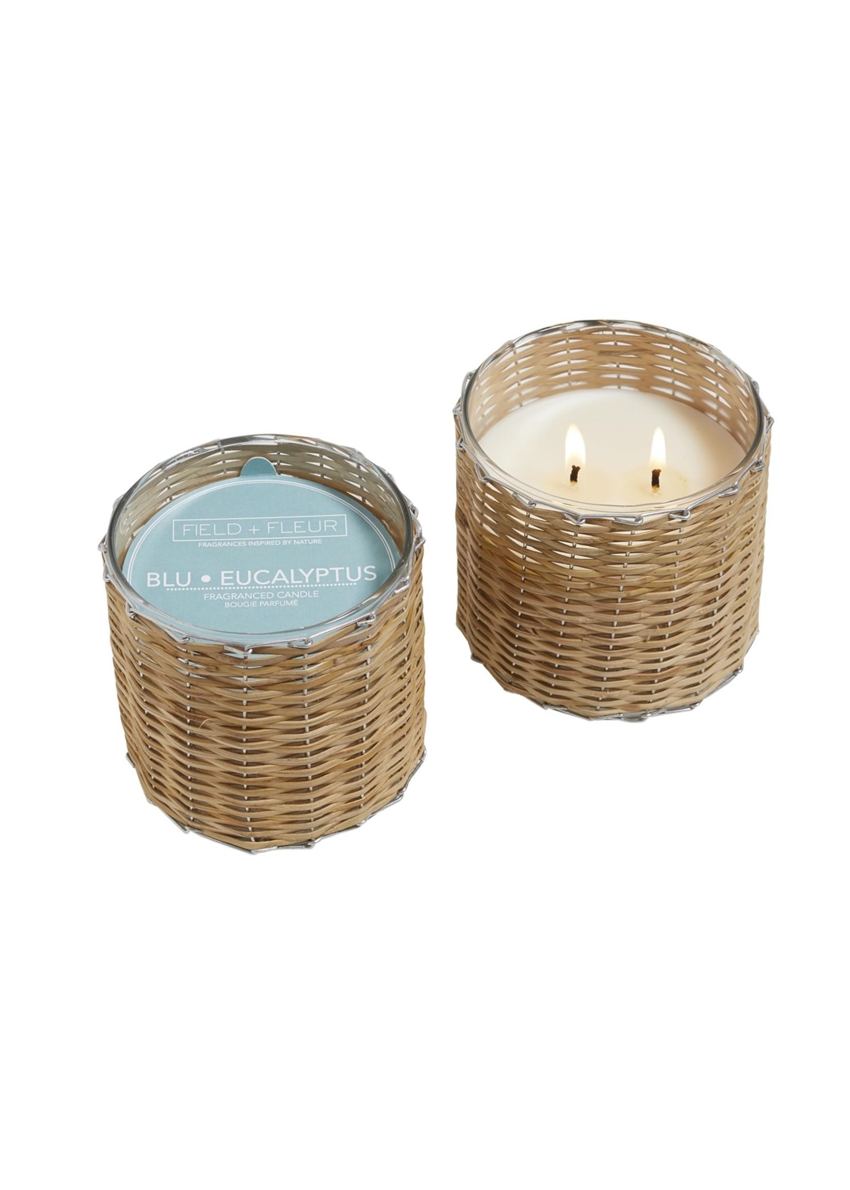 2 Wick Handwoven Candle 12 oz Blu Eucalyptus
