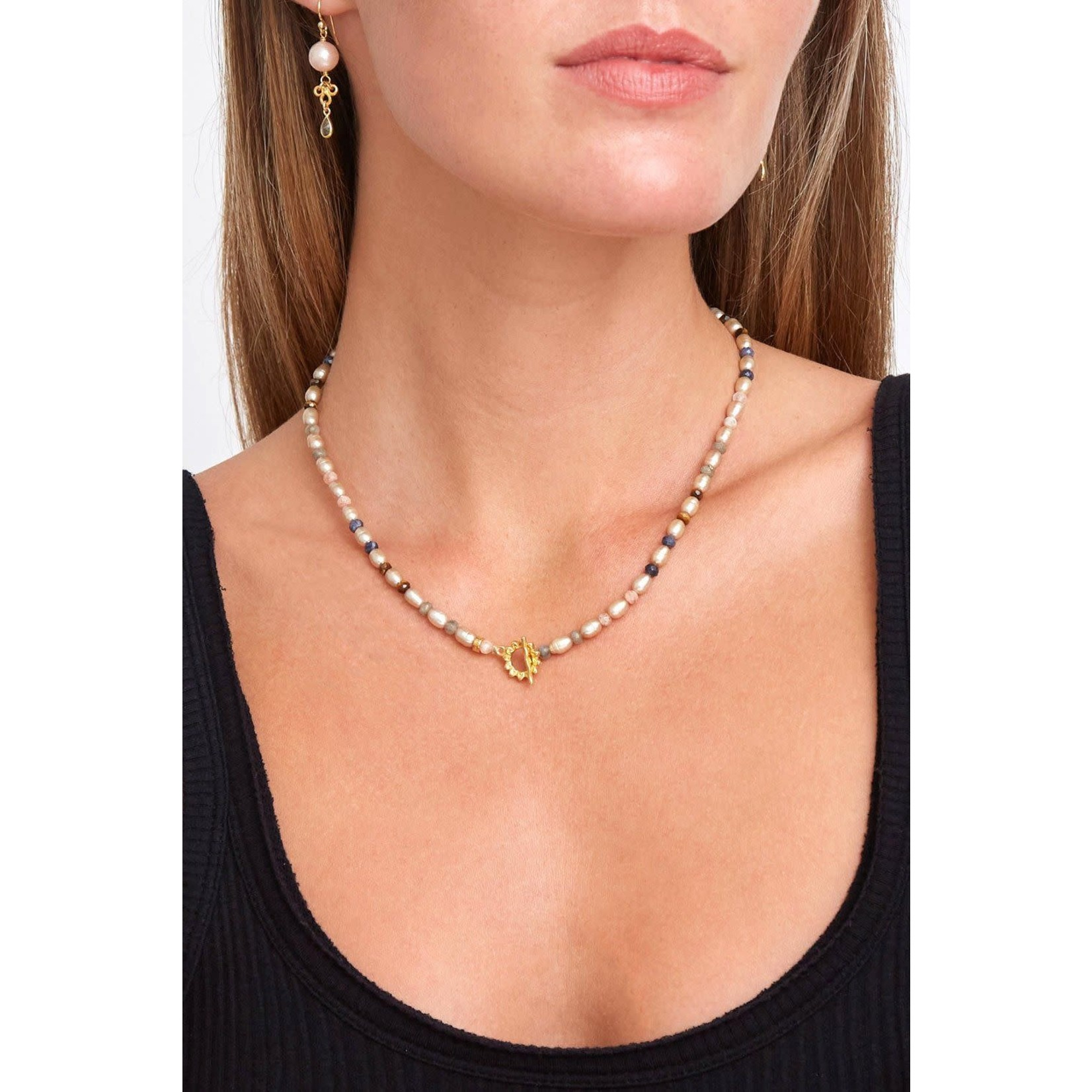 Chan Luu Champagne Pearl Mix And Sunflower Toggle Necklace