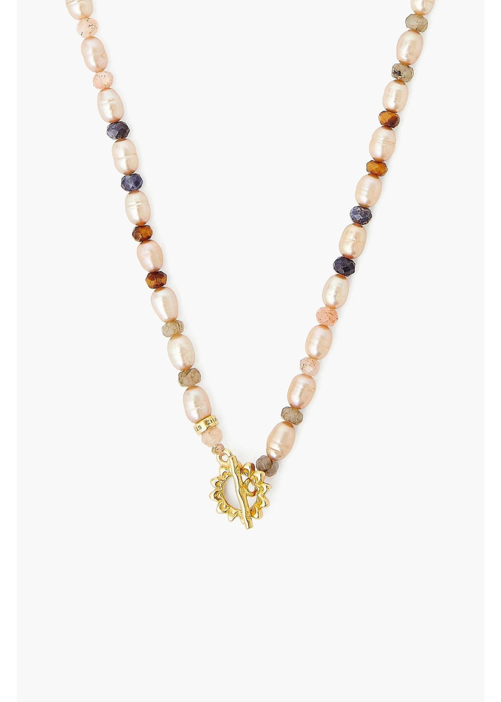 Chan Luu Chan Luu Champagne Pearl Mix And Sunflower Toggle Necklace