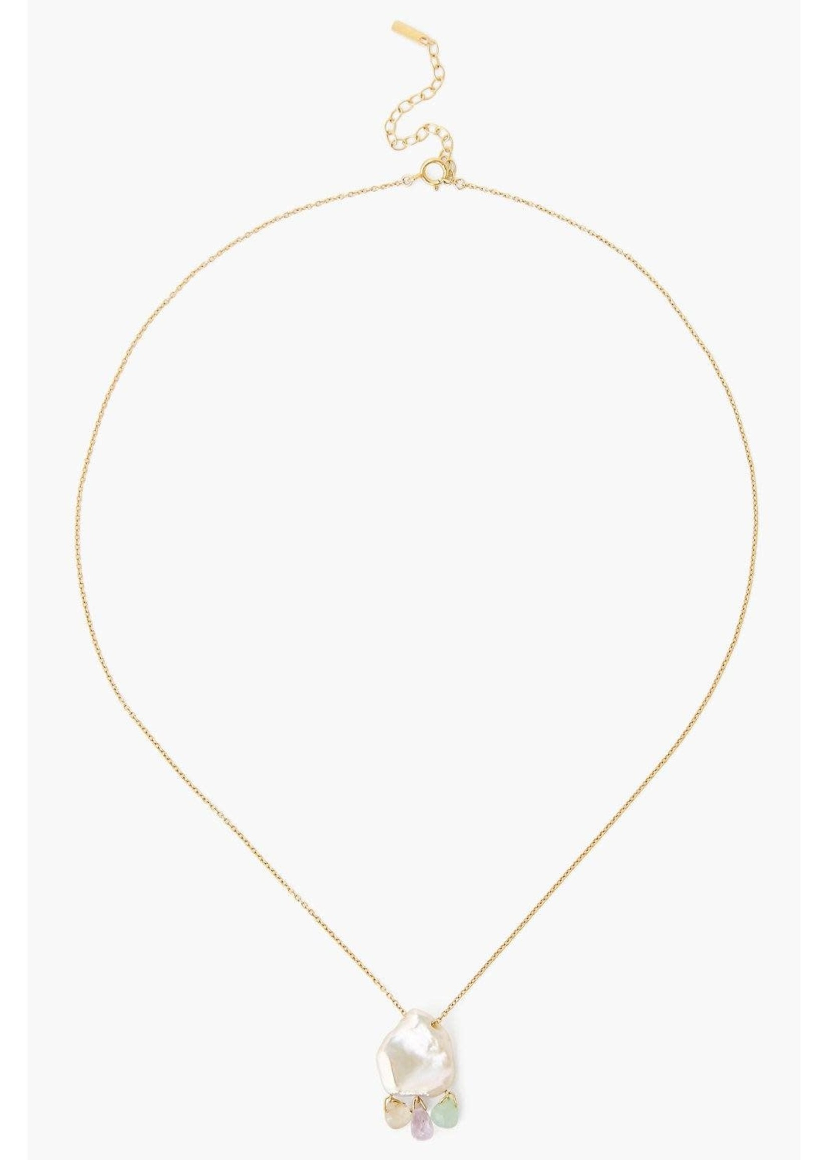 Chan Luu Chan Luu White Keshi Pearl Mix Chandelier Necklace