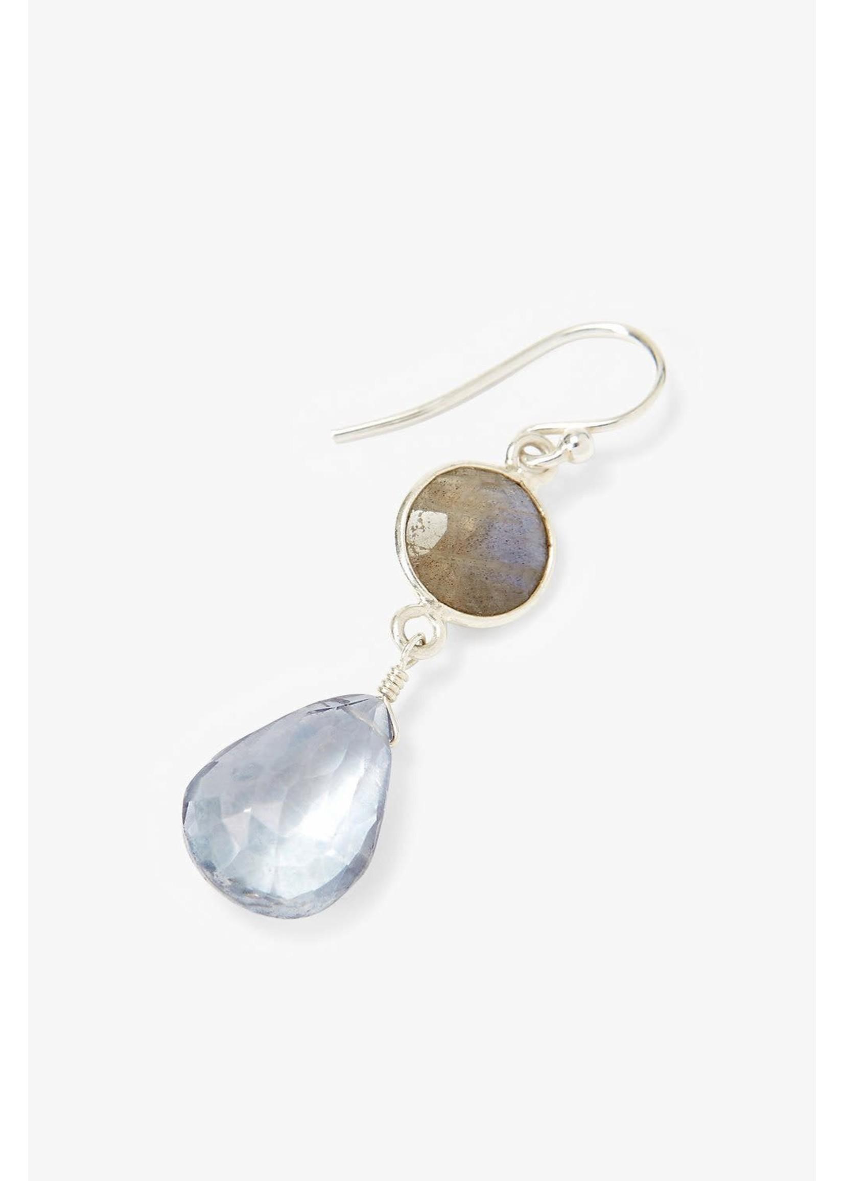 Chan Luu Chan Luu Blue Crystal And Labradorite Teardrop Earrings