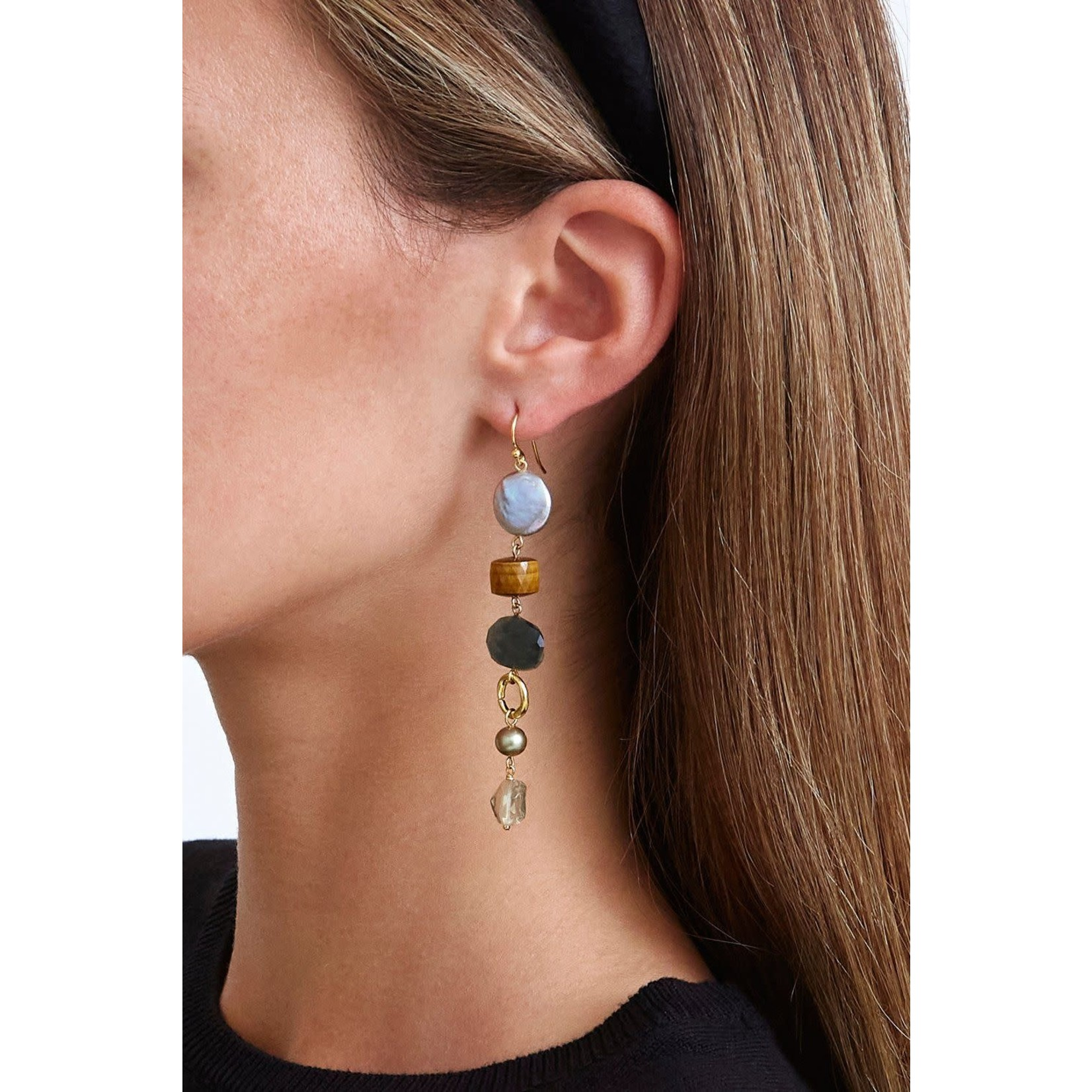 Chan Luu Mixed Modern Peacock Pearl Drop Earrings
