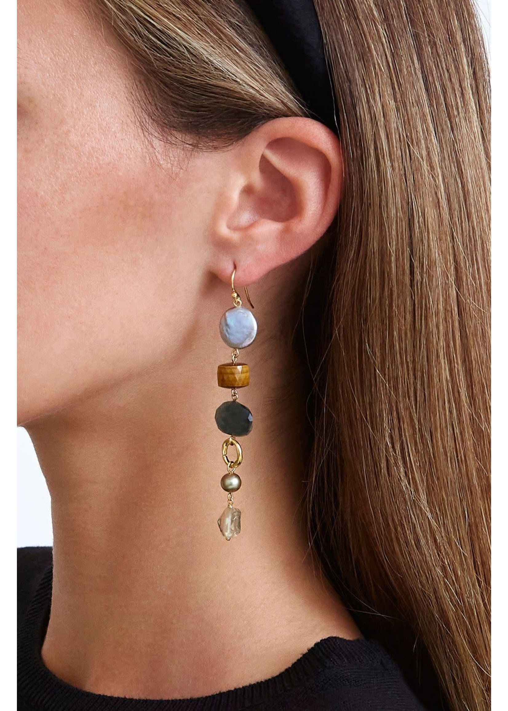 Chan Luu Chan Luu Mixed Modern Peacock Pearl Drop Earrings
