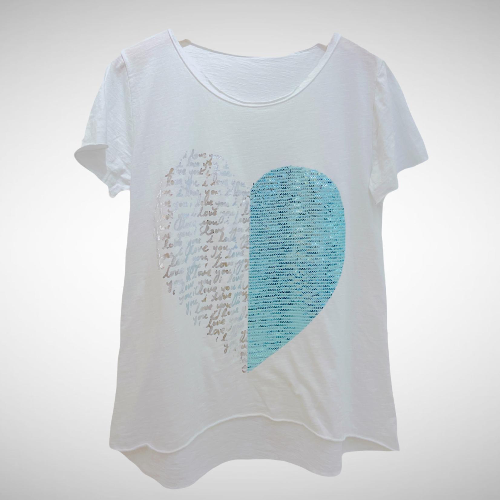 Heart White/Aqua T-Shirt