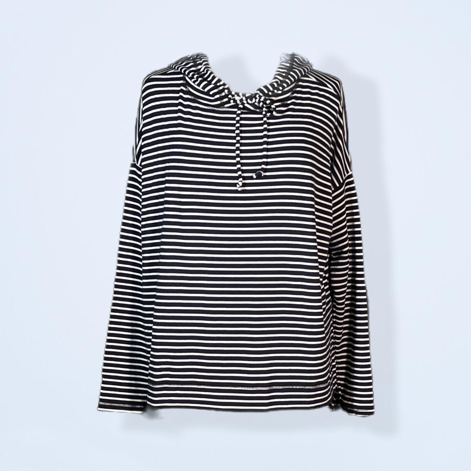 Navy Stripe Fleece Sweatshirt