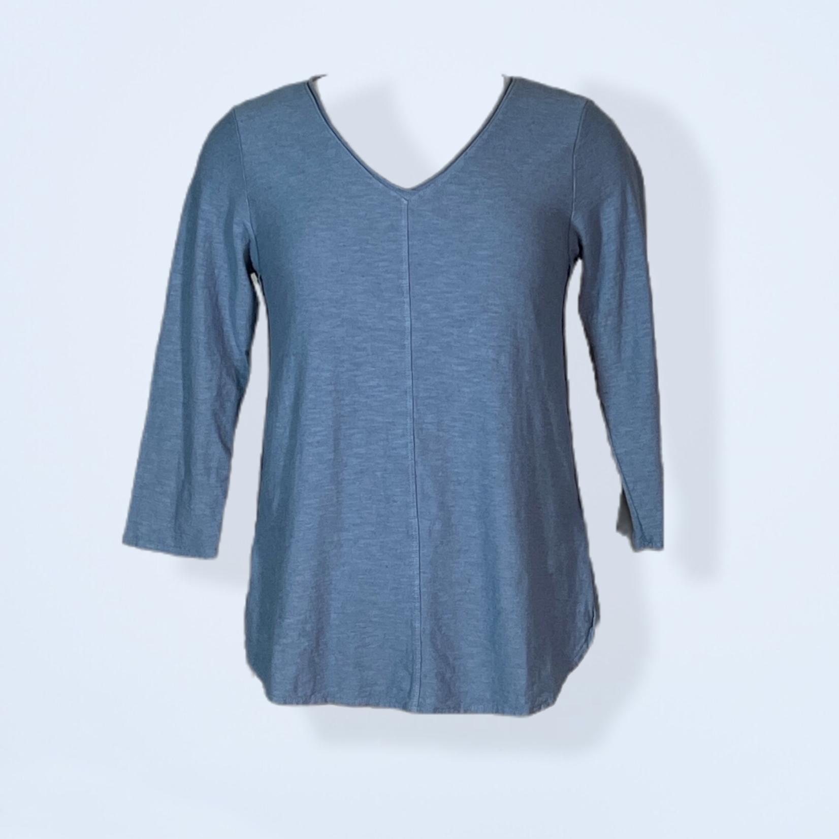 V Neck 3/4 Sleeve Linen Cotton Top