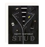 GIRL WITH KNIFE Happy Birthday Stud Card