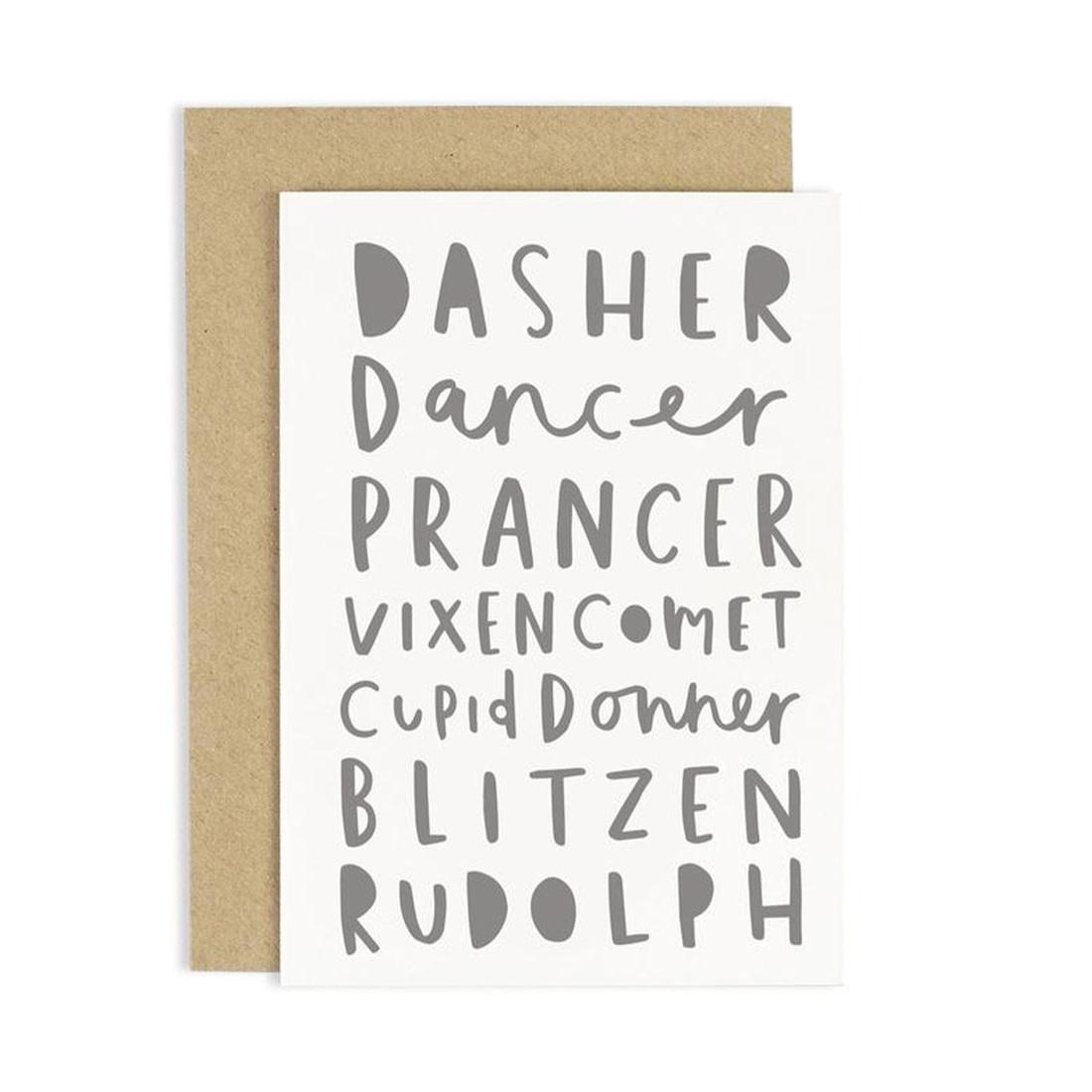 OLD ENGLISH Reindeer Names Card
