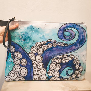 Octopus Love- Zippered Pouch, Large