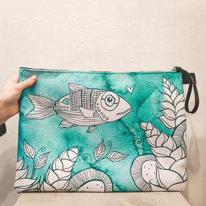 Hello Fish- Zippered Pouch, Extra Large