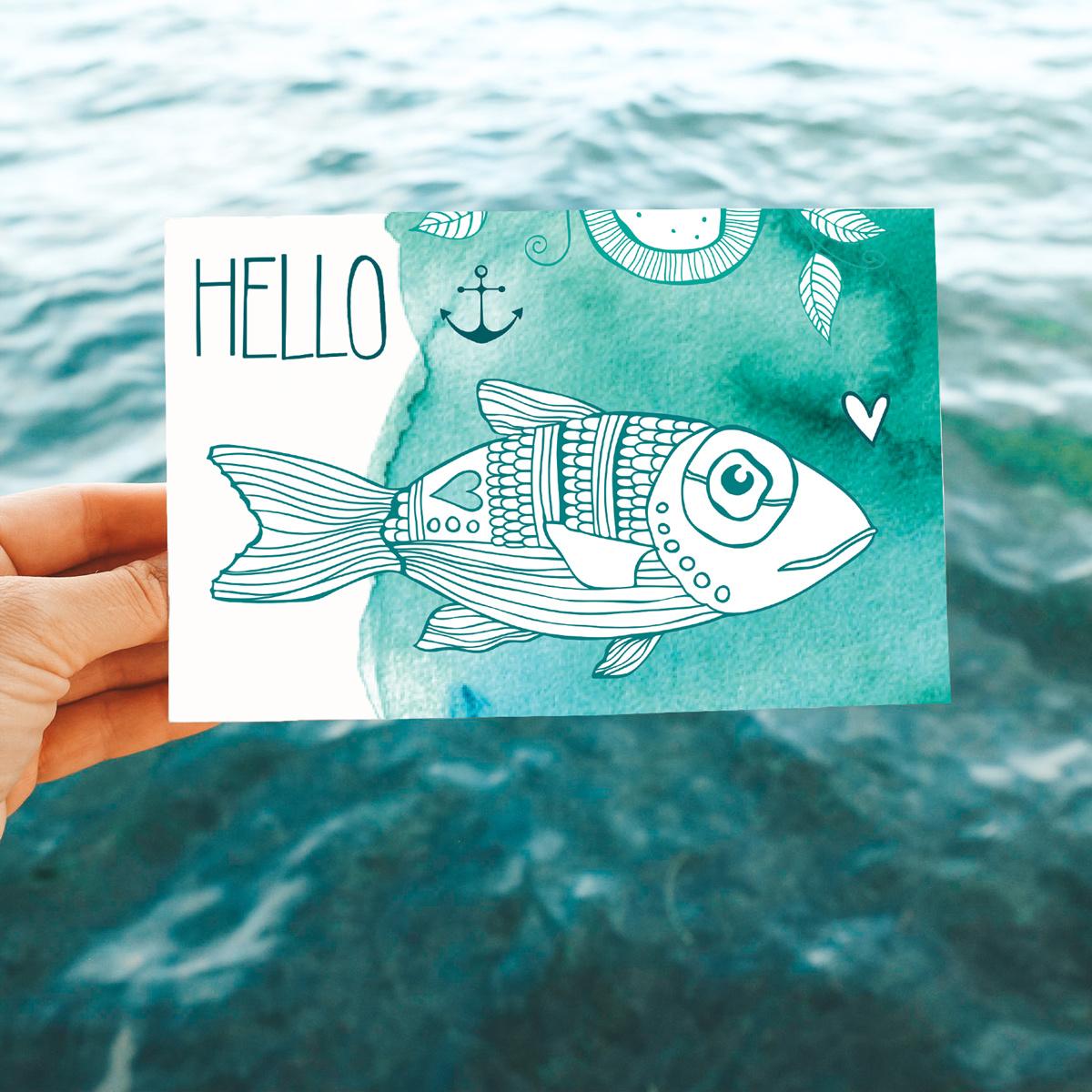 Hello Fish- Note Card