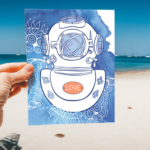 Diver- Note Card