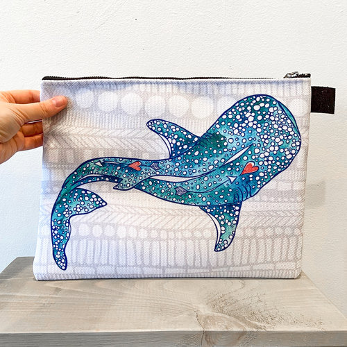Whale Shark- Zippered Pouch, Large