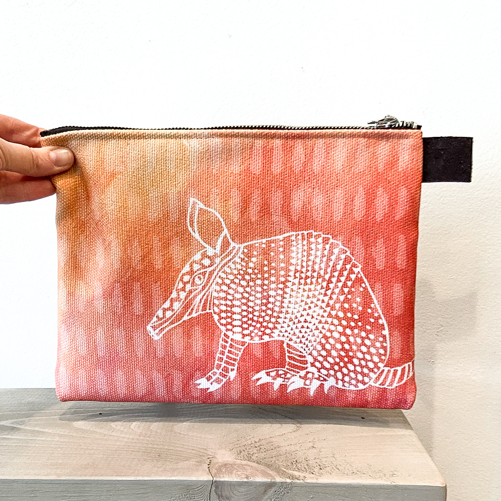 Armadillo- Zippered Pouch, Medium