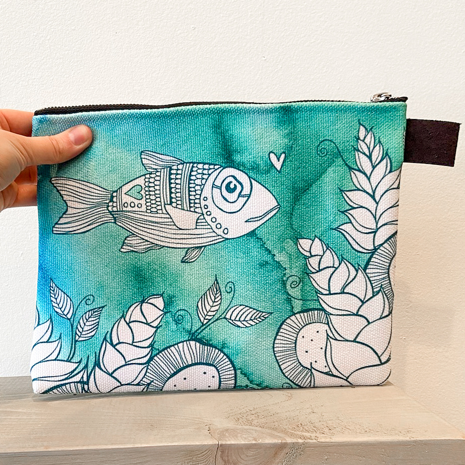 Hello Fish- Zippered Pouch, Medium