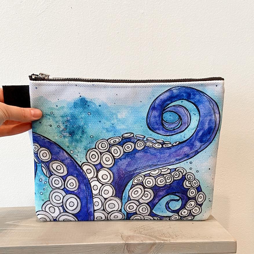 Octopus Love- Zippered Pouch, Medium