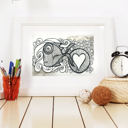 Sayulita- 5 x 7 Octopus Ink Watercolor