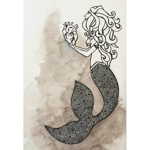 Mermaid's Heart- 5 x 7 Octopus Ink Watercolor