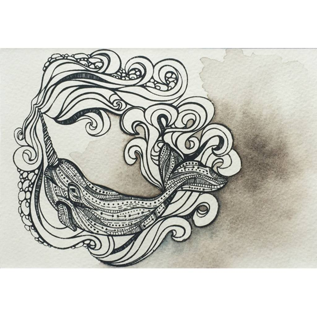 Narwhal in the Waves- Octopus Ink Watercolor