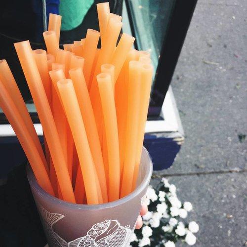 Tangerine Silicone Straw