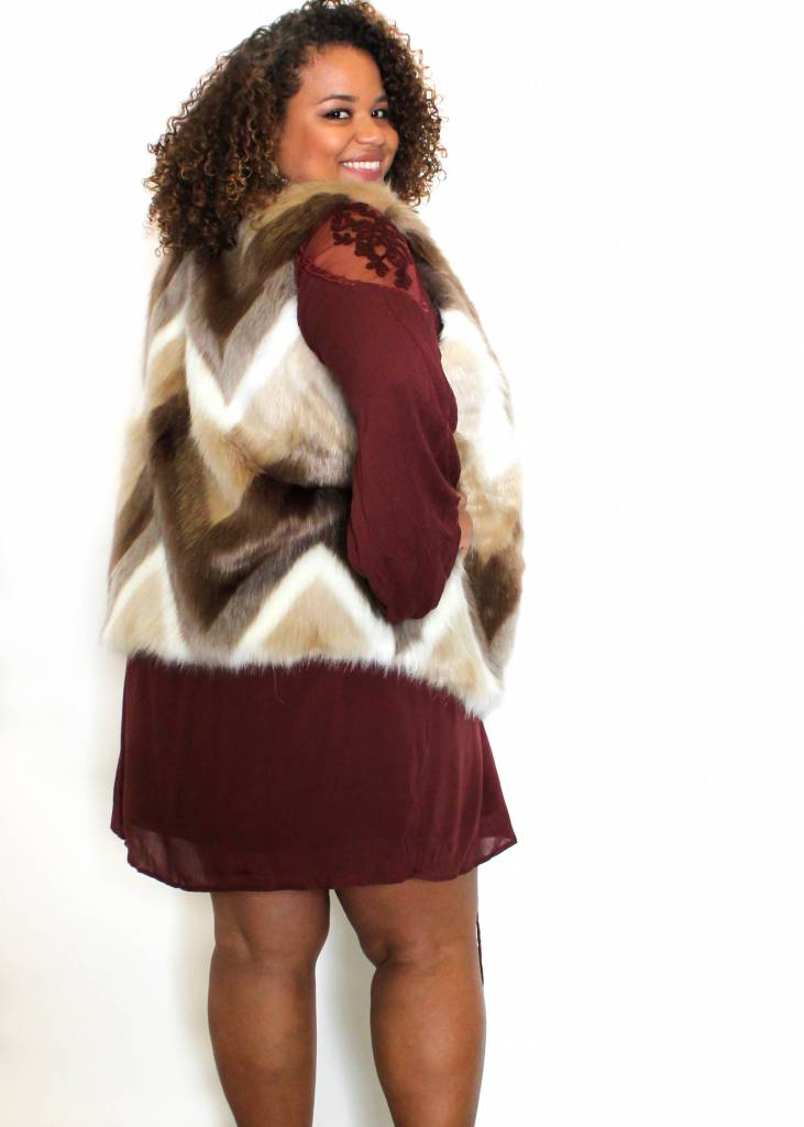 STEPHANIE CHEVRON FUR VEST