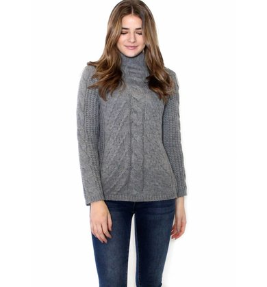HEATHER CABLE KNIT SWEATER