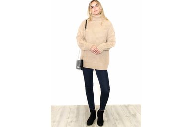 EMILY BEIGE TURTLENECK SWEATER