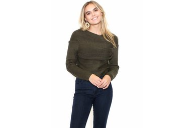 RYLEIGH OLIVE CROPPED SWEATER