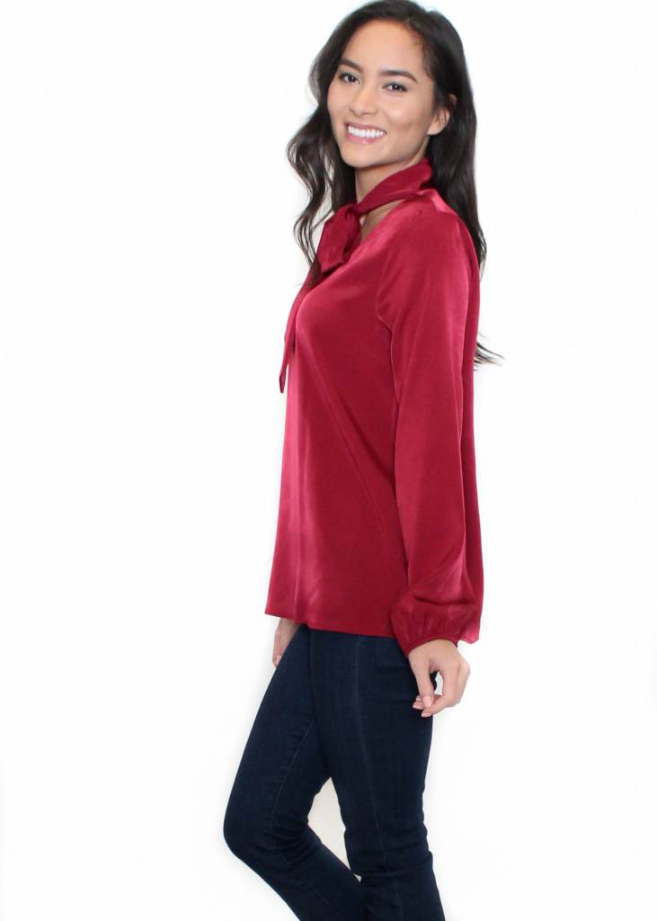 RUBY RED FRONT TIE BLOUSE