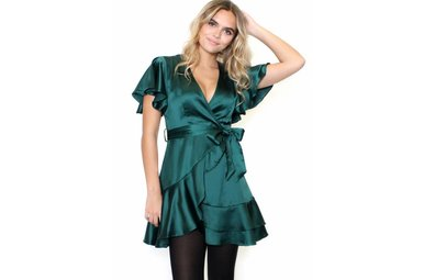 ELEANOR EMERALD WRAP DRESS