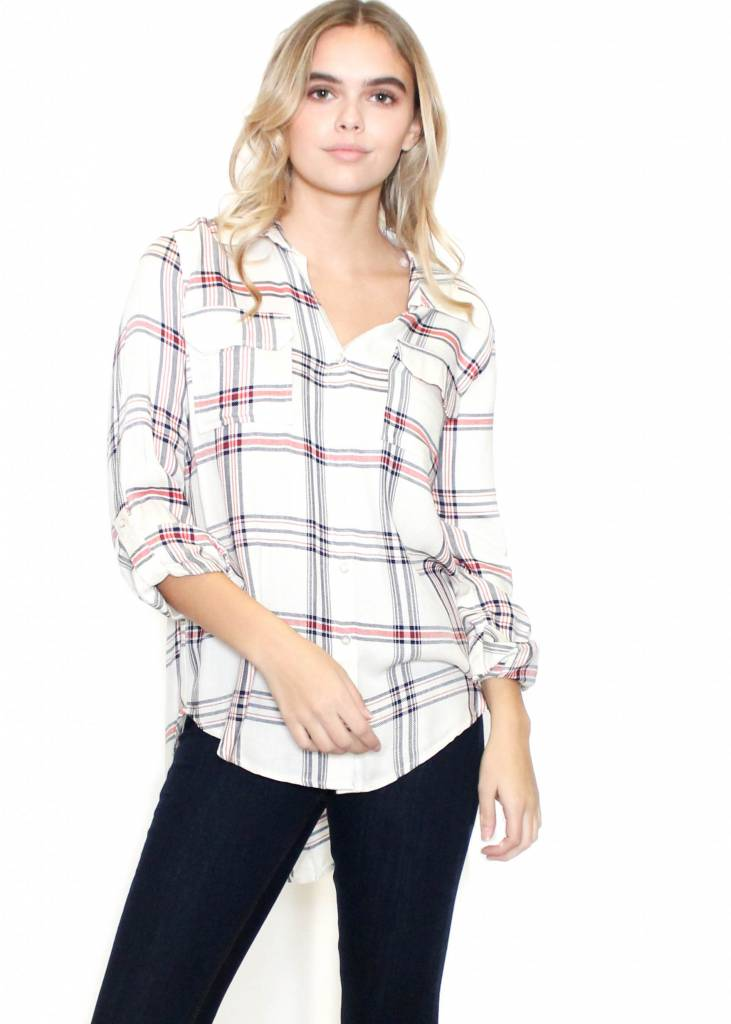 MADELINE PLAID BUTTON UP