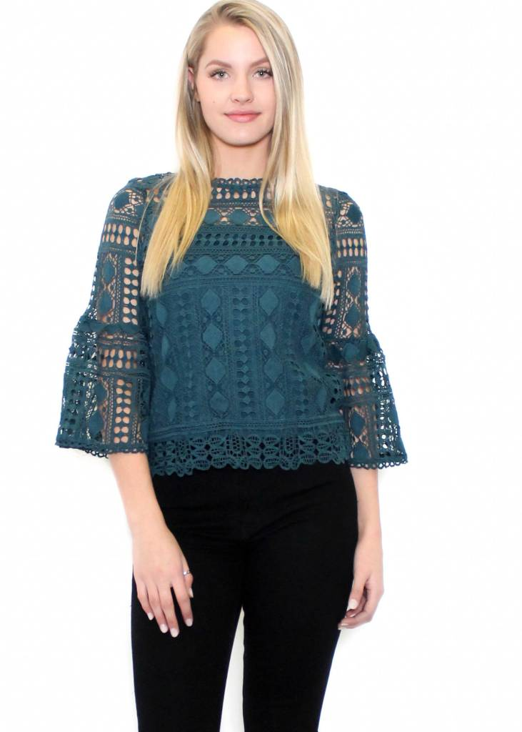 MIRIAM BELL SLEEVE LACE TOP