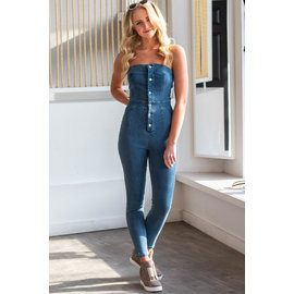 DREW DENIM STRAPLESS JUMPSUIT