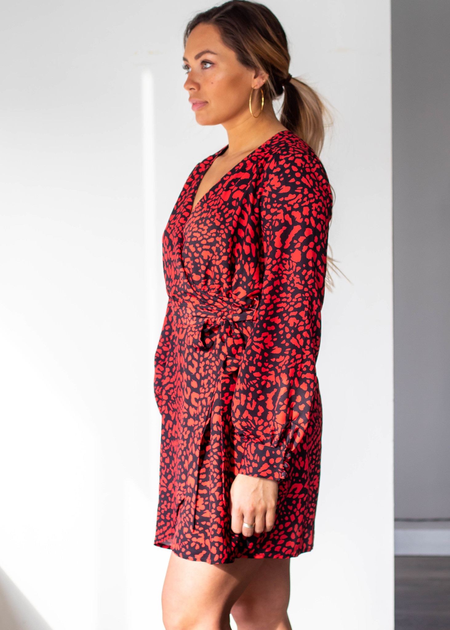 AMARA PRINTED WRAP DRESS