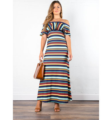 COASTLINE STRIPED MAXI DRESS