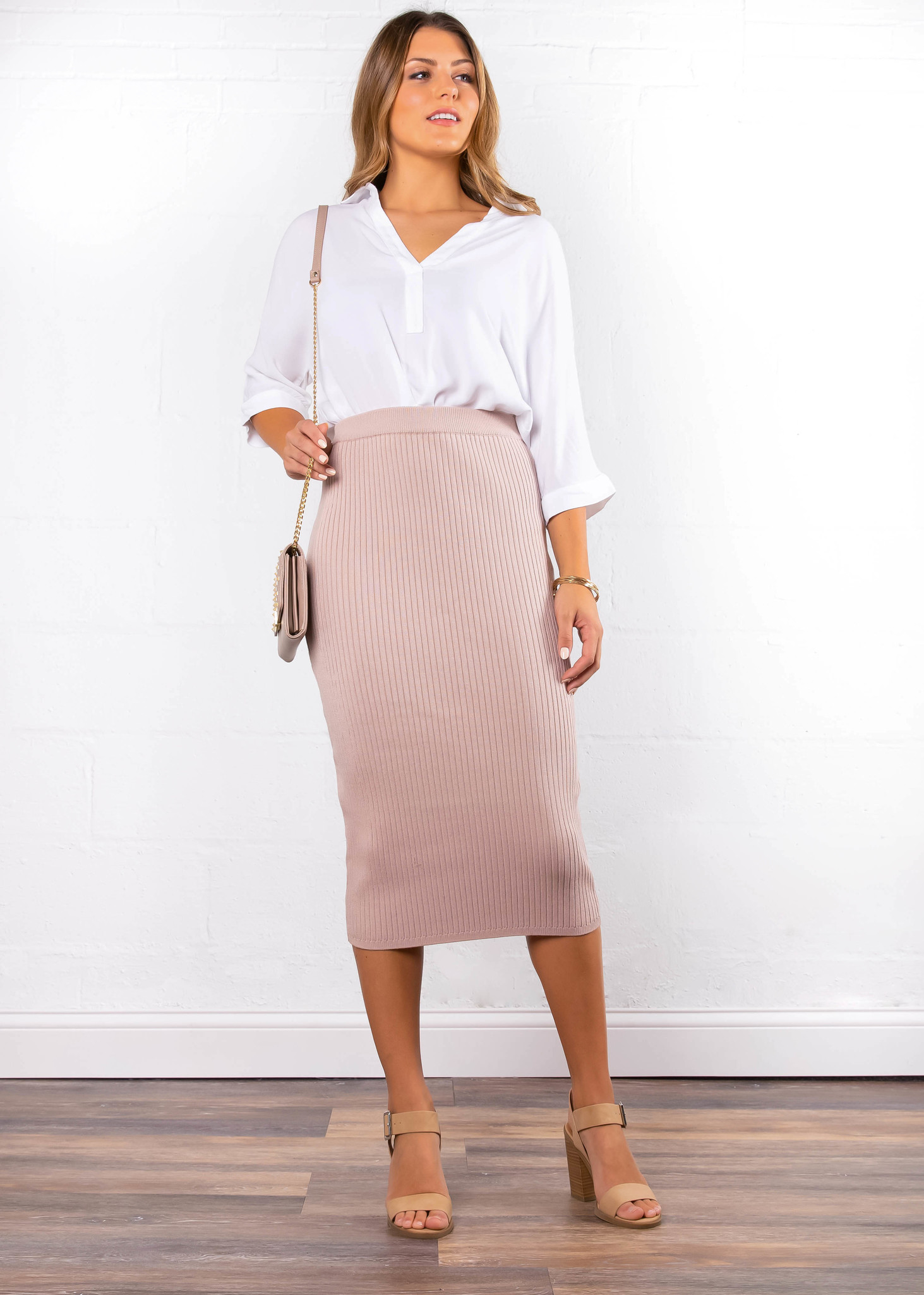 MIX + MINGLE KNIT PENCIL SKIRT