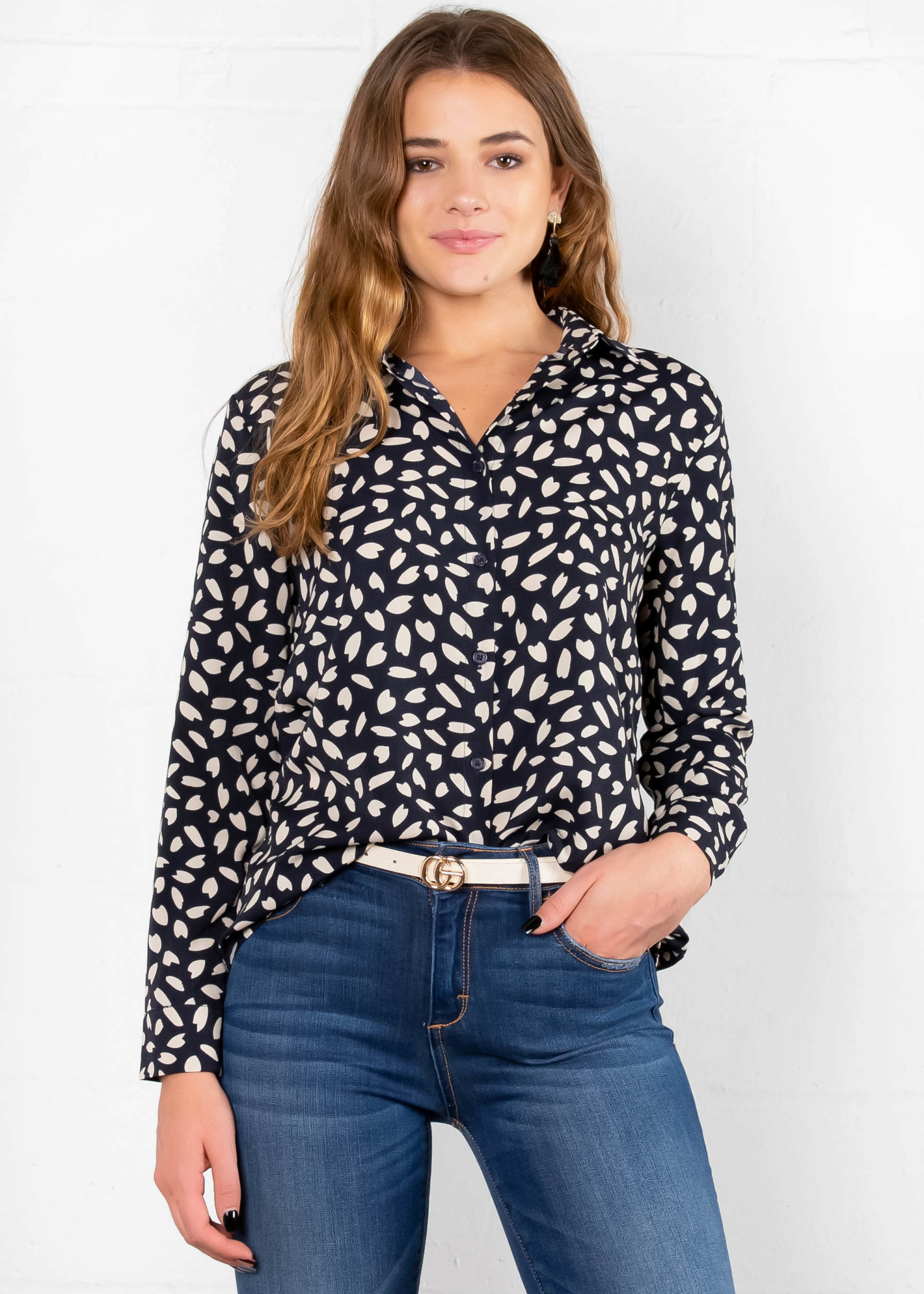 SPENCER PRINTED BUTTON UP BLOUSE