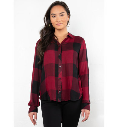 WILDFIRE PLAID BUTTON UP