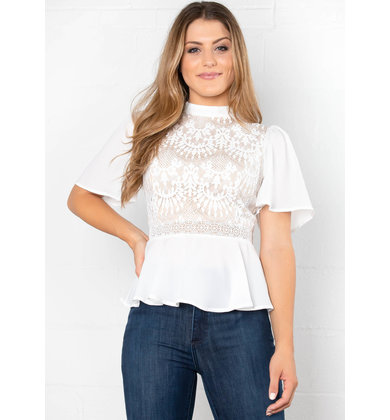 PAPER RINGS WHITE LACE BLOUSE
