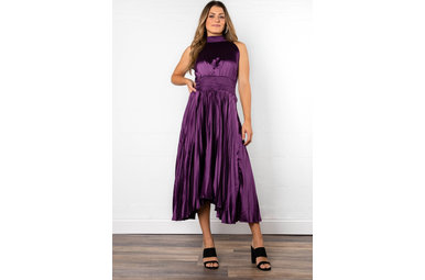 ELSA PLEATED DRESS - PURPLE