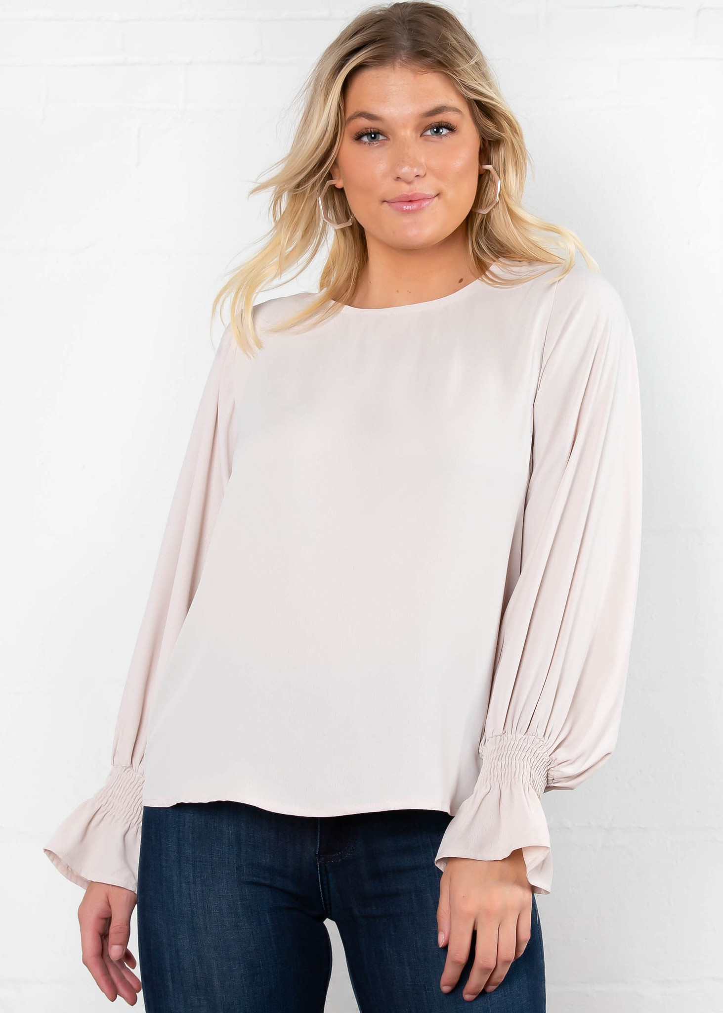 OFFICE HOURS CHAMPAGNE BLOUSE