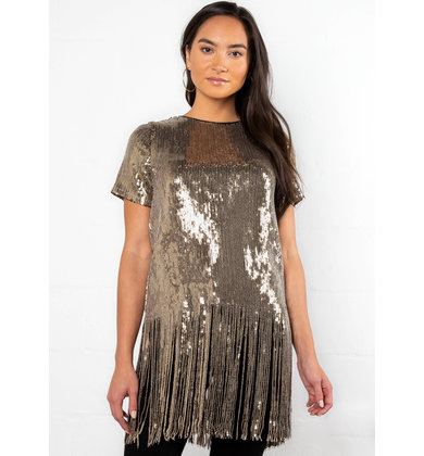 PARTY TONIGHT SEQUIN FRINGE TOP